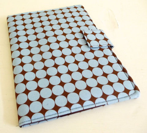 Polka,Dot,iPad,Air,Cover,,Blue,&,Brown,,soft,book,style,handmade ipad air cover, blue and brown, polka dot ipad air cover, cover for ipad air