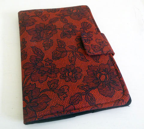 Gothic,Red,and,Black,Lace,Print,Kindle,Keyboard,or,Fire,Cover,handmade kindle 3 cover, gothic kindle keyboard cover, red and black kindle 3 cover, handmade kindle 3 case, gothic kindle fire cover, lace print kindle fire cover, cover for original kindle fire