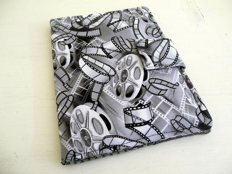 Movie,Film,Kindle,Paperwhite,or,Touch,Cover,handmade kindle paperwhite cover, soft book style cover for kindle touch, movie fabric, black and white, fun kindle cover, lightweight cover, movie themed kindle touch cover