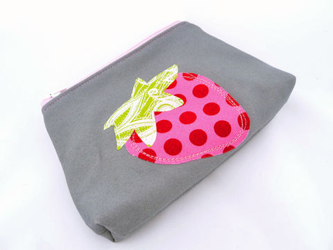 Small,Appliqued,Strawberry,Makeup,Bag,handmade makeup bag, small zippered pouch, strawberry, cute makeup bag, handmade pouch
