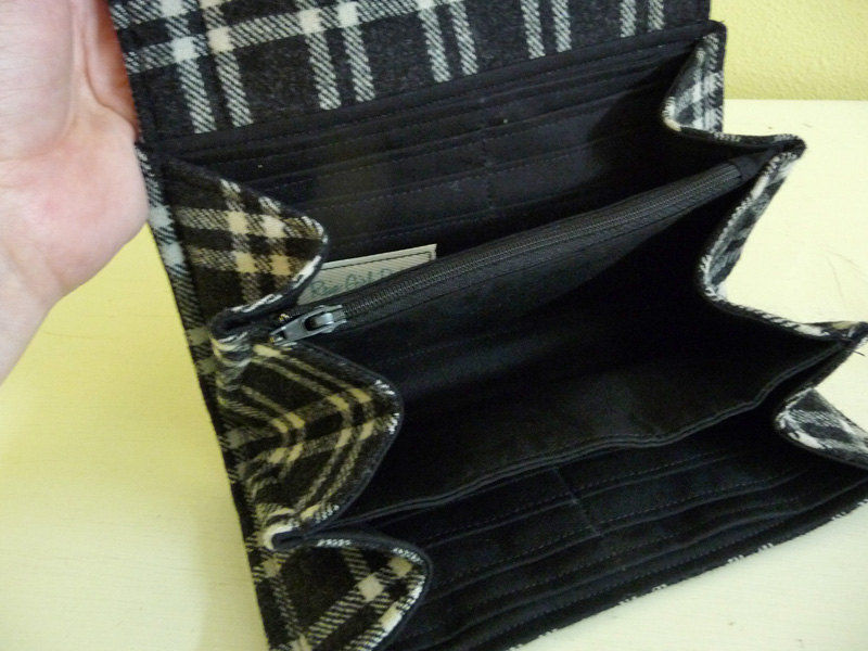 Black Plaid Wool Clutch Wallet - product images  of