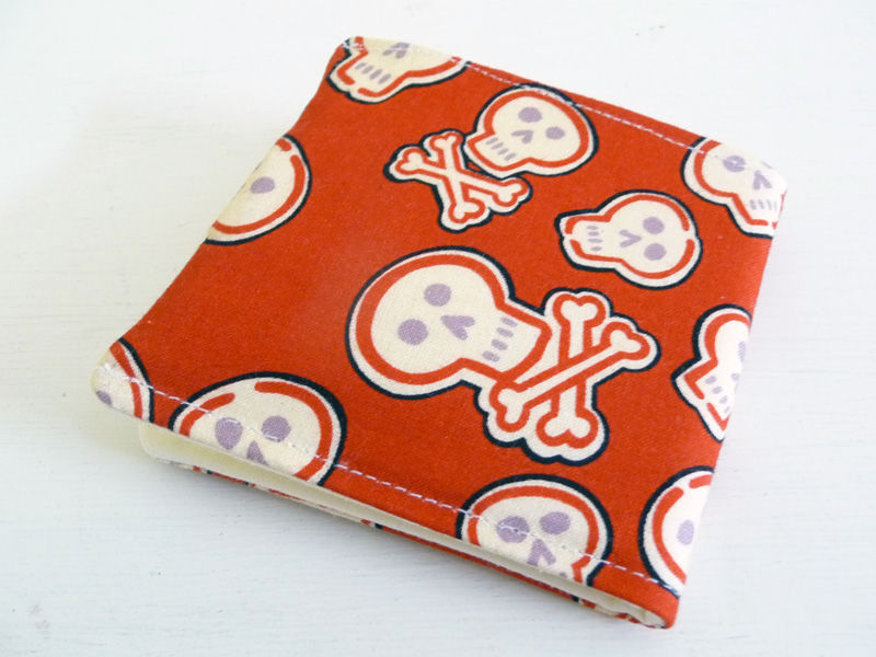 Red Skulls Print Cotton Bifold Wallet - product images  of