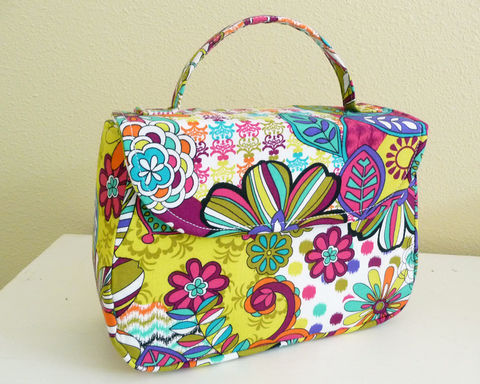 Bright,Spring,Floral,Mabel,Handbag,,retro,vintage,style,retro style handbag, floral handbag, bright colorful handbag, bright flowers handbag, womens purse, cotton print purse, small structured purse, fun handbag, mabel handbag, vintage retro style handbag