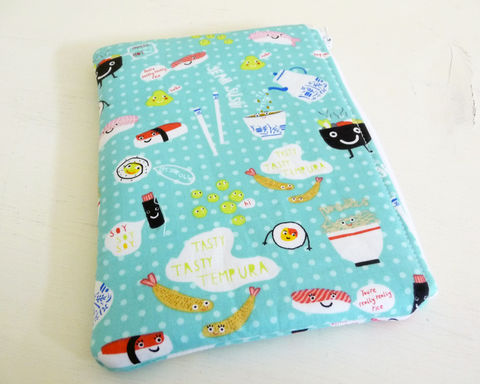 Aqua,Sushi,Print,Padded,Kindle,Touch,|,Paperwhite,Sleeve,handmade kindle case, kindle sleeve, sushi kindle sleeve, padded kindle case, kindle touch case, kindle paperwhite sleeve, ereader sleeve, case, aqua