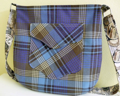 Blue,and,Brown,Plaid,Crossbody,Tote,Bag,plaid tote bag, plaid tote, cotton tote bag, crossbody tote bag, large crossbody bag, handmade bag, cross body bag, plaid crossbody bag