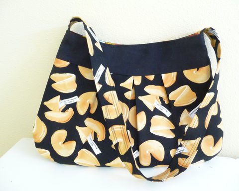 Pleated,Shoulder,Bag,in,Fortune,Cookie,Print,Cotton,fortune cookie purse, fortune cookie shoulder bag, handmade bag, handmade purse, pleated shoulder bag, pleated purse