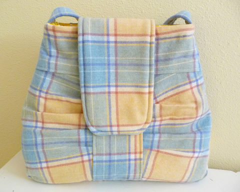 Yellow,Plaid,Wool,Shoulder,Bag,,pleated,details,and,pastel,colors,merino wool shoulder bag, handmade, plaid wool, yellow plaid purse, yellow plaid bag, handmade shoulder bag, handmade purse, handmade bag