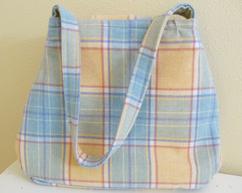 Yellow Plaid Wool Shoulder Bag, pleated details and pastel colors - product images  of