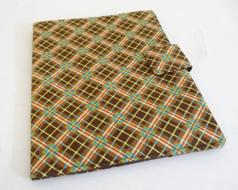 Brown,Plaid,Cotton,iPad,2,Cover,,Soft,Book,Style,cotton ipad 2 cover, vegan ipad 2 cover, handmade, ipad 2 case, brown plaid ipad cover, brown ipad 2 cover