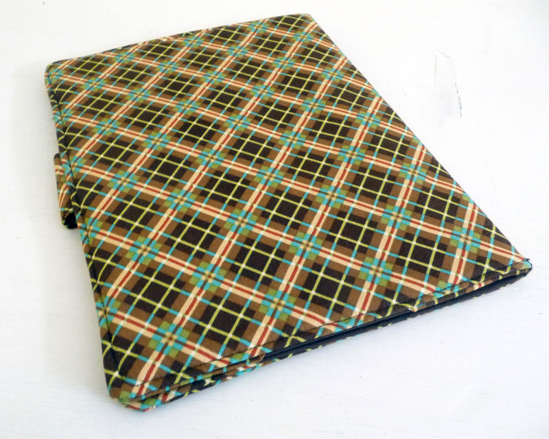 Brown Plaid Cotton iPad 2 Cover, Soft Book Style - product images  of