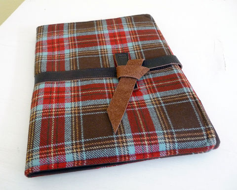 Brown,Plaid,Wool,and,Leather,iPad,2,Cover,brown plaid wool ipad 2 cover, handmade ipad 2 cover, handmade ipad 3 cover, wool and leather ipad cover,