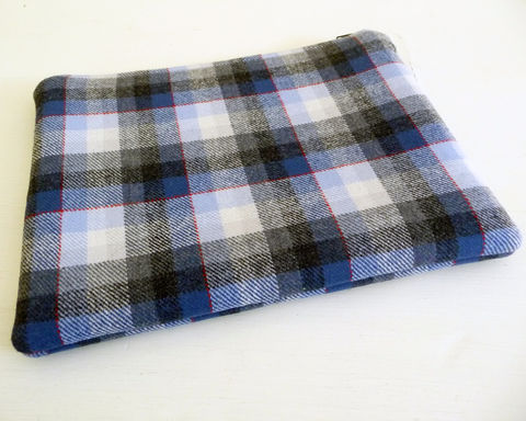 Blue,Plaid,Wool,Tablet,Sleeve,,Foam,Padded,Cord,Pouch,blue plaid tablet sleeve, blue plaid wool tablet case, padded cord case, padded cord travel pouch, blue wool travel cord pouch, zippered pouch