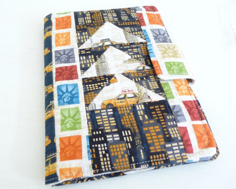 Patchwork,New,York,City,Themed,Kindle,Paperwhite,or,Touch,Cover,handmade kindle touch cover, kindle paperwhite cover, patchwork kindle cover, new yokr kindle touch cover, new york kindle paperwhite cover, kindle 6 cover