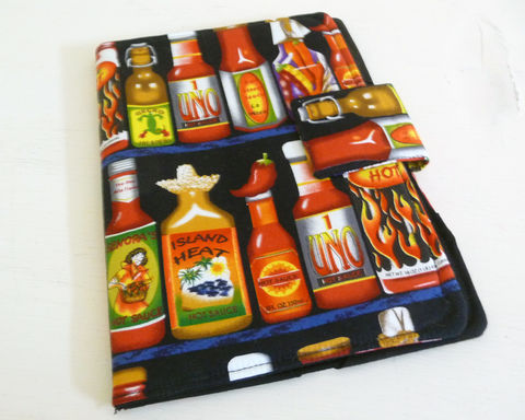 Hot,Sauce,Themed,Kobo,Cover,kobo ereader cover, handmade cover to fit original kobo, kobo case, book style kobo cover,