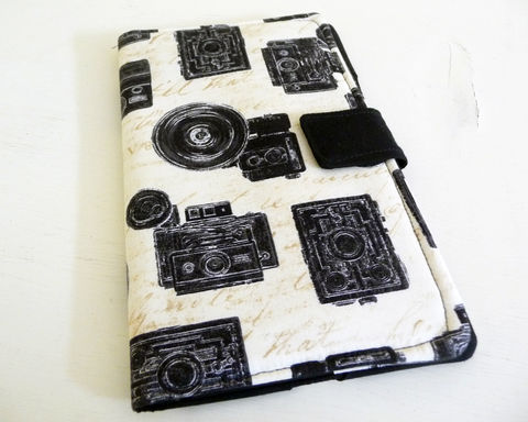 Book,Style,Nexus,7,Cover,,Vintage,Retro,Camera,Print,Cotton,cover for 2013 Nexus 7, handmade nexus 7 tablet cover, book style cover for nexus 7, retro camera print nexus 7 cover