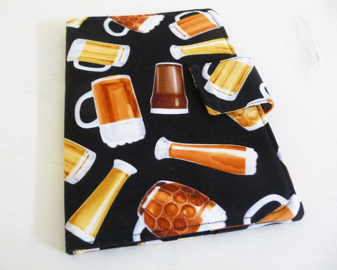 Mugs,of,Beer,Nook,eReader,Cover,book style cover for original nook, nook ereader cover, nook case, handmade nook cover, mens nook ereader cover, black and white nook cover, mugs of beer themed