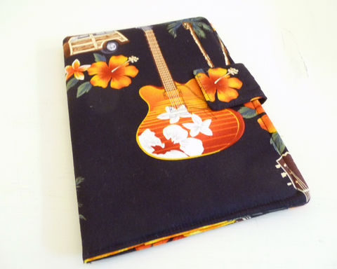 Guitars,and,Tropical,Nook,HD,Cover,,Soft,Book,Style,nook hd cover, nook hd case, handmade nook hd cover, guitar themed nook hd cover, surfs up nook hd cover, retro style nook hd cover, mens nook hd cover