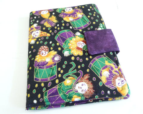 Mardi,Gras,Kindle,4,or,5,,Voyage,,Kobo,Touch,Cover,kindle voyage cover, kobo touch cover, kindle 5 cover, kobo touch case, handmade kindle cover, mardi gras kindle cover, clown kindle cover, jester kobo touch cover