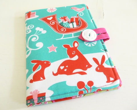 Aqua,and,Pink,Christmas,Kindle,4,or,5,Cover,kindle voyage cover, kobo touch cover, kindle 5 cover, kobo touch case, handmade kindle cover, christmas kindle cover