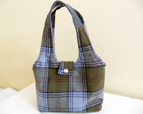 Green,and,Grey,Plaid,Wool,Handbag,Olive green handbag, plaid olive green bag, handmade plaid handbag, handmade plaid wool bag, olive green and grey plaid bag, handbag purse, plaid purse, plaid handbag purse
