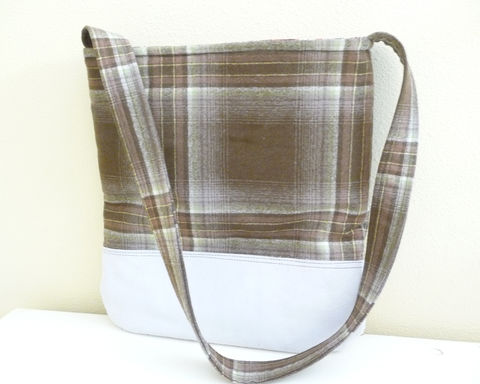 Brown,Plaid,Wool,and,Leather,Tote,Shoulder,Bag,handmade wool and leather tote, plaid wool and leather tote bag, casual shoulder bag, tote style shoulder bag, wool and leather shoulder bag, handmade wool and leather bag