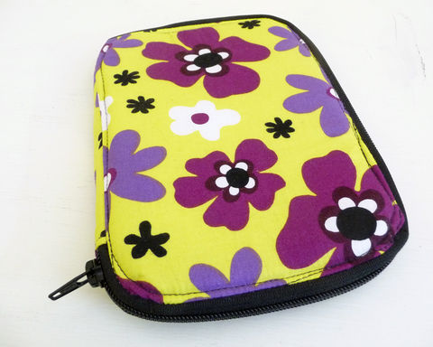 Bright,Lime,and,Purple,Floral,Zippered,Case,zippered case, handmade zip case, zip art case, zip notepad case, lime green and purple floral
