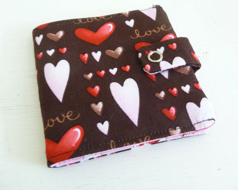 Pink,and,Brown,Hearts,Cotton,Bifold,Wallet,handmade wallet, heart print wallet, womens bifold wallet, vegan bifold wallet, vegan womens wallet, handmade cotton wallet, simple bifold wallet, casual womean wallets, womens wallet to fit in jeans