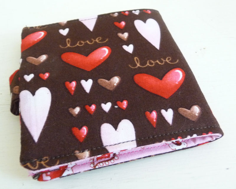 Pink and Brown Hearts Cotton Bifold Wallet - product images  of