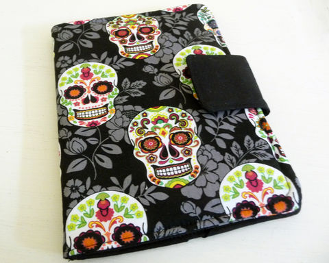 Sugar,Skull,eReader,Cover,fits,Kindle,4,or,5,,Voyage,,Kobo,Touch,kindle voyage cover, kobo touch cover, kindle 4 cover, handmade kindle 5 cover, book style kindle case, basic kindle cover, sugar skull kindle cover, skull kindle 4 cover, suagr skull ereader cover, day of the dead kindle 4 cover