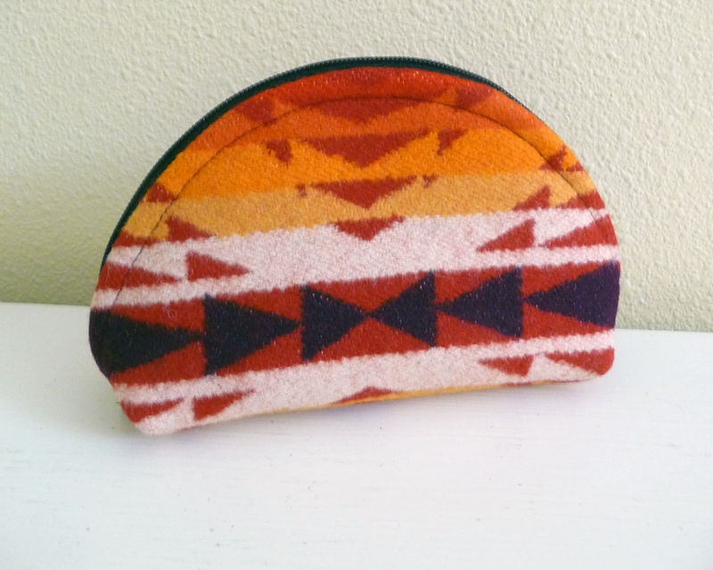 Bold Red Southwestern Style Wool Dumpling Pouch - product images  of