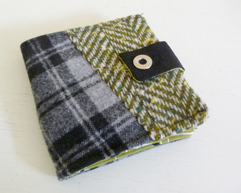 Olive,Green,and,Black,Patchwork,Wool,Bifold,Wallet,wool bifold wallet, handmade wallet, plaid wool wallet, patchwork bifold wallet, olive green plaid wool wallet