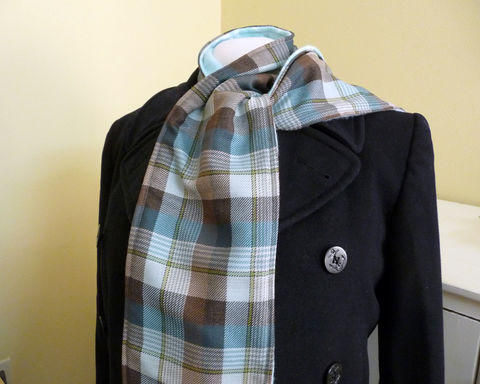 Long,Teal,and,Brown,Plaid,Wool,Scarf,plaid wool scarf, teal wool scarf, handmade wool scarf, womens long scarf, aqua plaid wool scarf, long plaid wool scarf, long teal and brown wool sacrf, plaid wool and fleece scarf