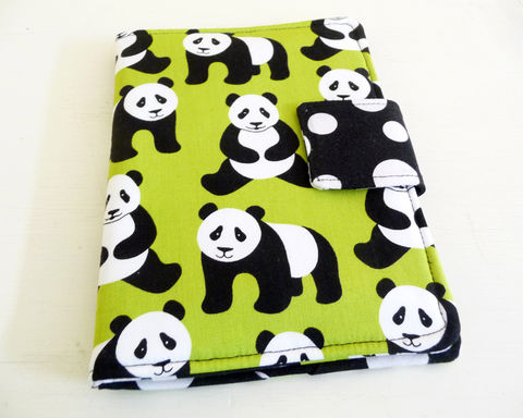 Panda,Bear,eReader,Cover,fits,Kindle,4,or,5,,Voyage,,Kobo,Touch,kindle voyage cover, kobo touch cover, kindle 4 cover, handmade kindle 5 cover, book style kindle case, basic kindle cover, lime green kindle cover, panda bear kindle cover, rain girl designs