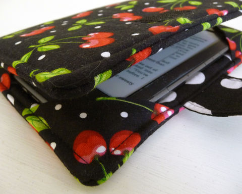 Retro,Cherry,Kindle,eReader,Cover,fits,4,or,5,and,Voyage,,Kobo,Touch,kindle voyage cover, kobo touch cover, kindle 4 cover, handmade kindle 5 cover, book style kindle case, basic kindle cover, rain girl designs, womens kindle cover, kindle ereader cover, retro cherry kindle cover, rockabilly kindle cover