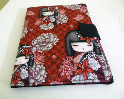 Handmade,iPad,Air,2,Cover,|,Case,,Kokeshi,Dolls,handmade ipad air cover, handmade ipad air 2 cover, ipad air case, book style cover for ipad air, rain girl designs, kokeshi dolls ipad air cover, floral ipad cover