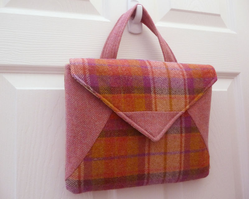 Retro Style Plaid Wool iPad Tablet Bag - product images  of