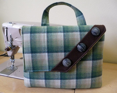 Vintage,Style,Green,Plaid,Wool,iPad,Tablet,Bag,with,Button,Accent,retro style ipad bag, plaid wool ipad bag, womens padded ipad tablet bag, tablet handbag, padded, tablet bag, plaid wool tablet bag, plaid wool handbag, retro style handbag, green plaid wool bag, vintage style bag