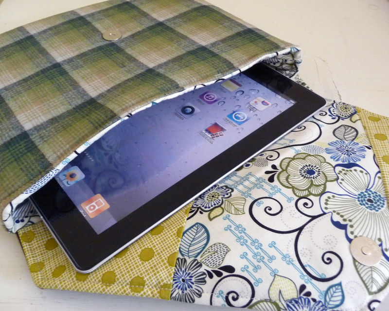 Vintage Style Green Plaid Wool iPad Tablet Bag with Button Accent - product images  of