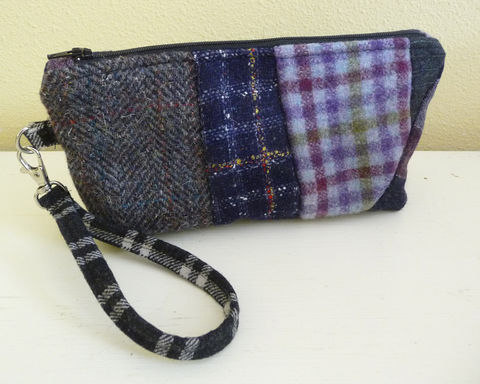 Purple,Plaid,Wool,Patchwork,Wristlet,Bag,patchwork wool wrislet, wristlet clutch bag, handmade clutch bag, handmade cell phone purse, mobile phone wristlet, purple wool bag, rain girl designs