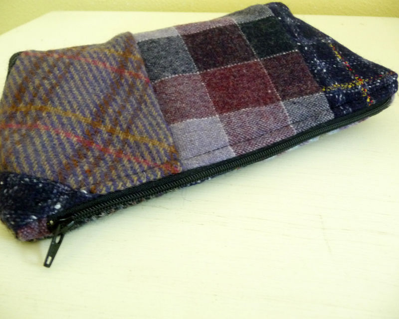 Purple Plaid Wool Patchwork Wristlet Bag  - product images  of