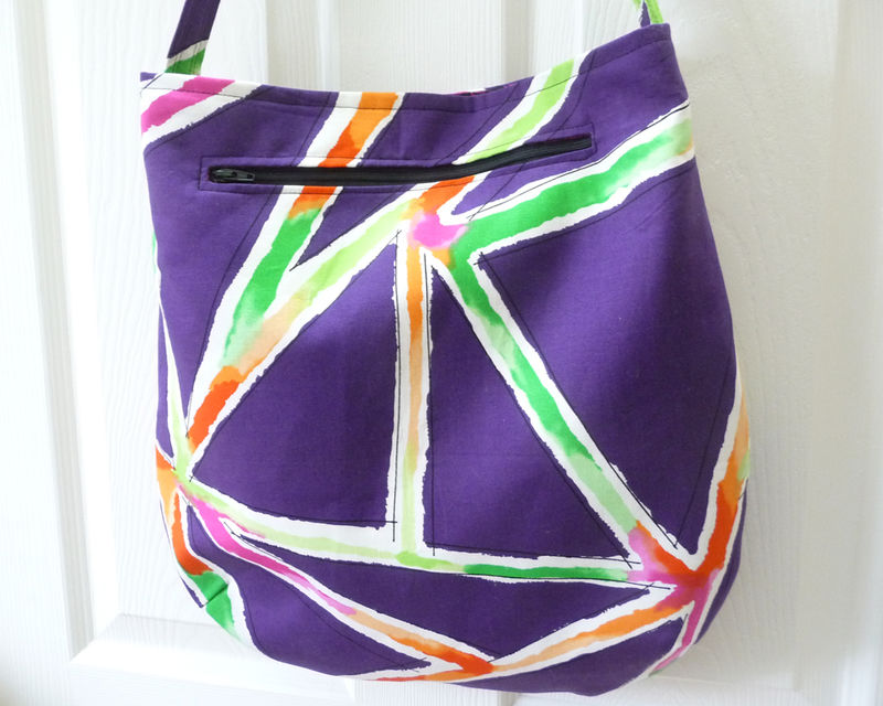 Large Shoulder Tote Bag in Bright Purple Modern Print Cotton - product images  of