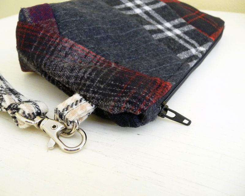 Red and Black Plaid Wool Patchwork Wristlet Bag  - product images  of
