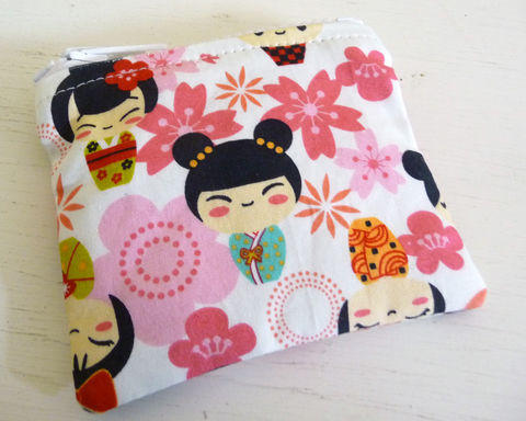 Small,Asian,Print,Coin,Purse,,Pink,Floral,and,Dolls,handmade coin purse, handmade change purse, rain girl designs, gift under $10, cotton print coin purse, vegan change purse