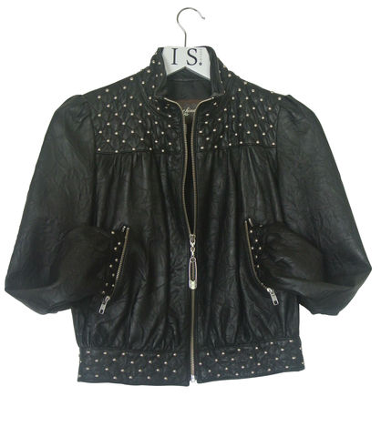 MOSCHINO,VINTAGE,STUDDED,LEATHER,JACKET,SOLD,Moschino leather stud biker jacket, vintage Moschino leather stud jacket, moschino jacket, leather jacket, vintage leather jacket, vintage studded jacket, designer leather jacket, vintage clothing, womenswear, biker jacket, designer vintage jacket, design