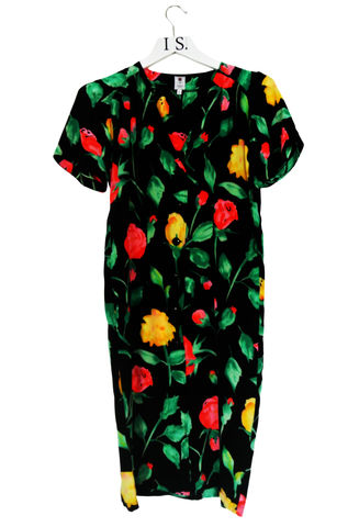 EMANUEL,UNGARO,VINTAGE,FLORAL,SILK,DRESS