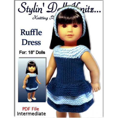 Knitting,Pattern,,Ruffle,Doll,Dress.,Fits,18,inch,dolls,and,American,Girl.,045,knitting pattern,doll clothes knitting pattern,American Girl doll, 18 inch dolls,journey girls,gotz,Madame Alexander,Maplelea Girl, Ruffle Skirt Dress, dress and hat