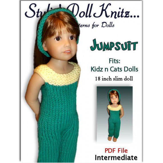 One piece Jumper, Knitting Pattern. Fits Kidz and Cats dolls - product images  of