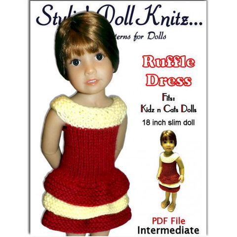 Doll,Dress,Knitting,Pattern,,Fits,Kidz,n,Cats,,18,inch,slim,doll,445,knitting pattern,doll clothes knitting pattern, 18 inch slim dolls,Kidz and Cats dolls, Ruffle Dress, tiered skirt