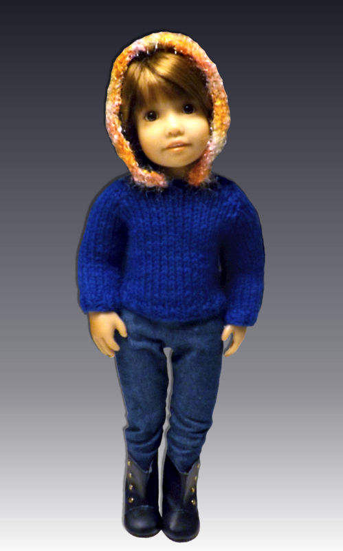 Knitting Pattern, Fits Kidz n Cats, 18 inch slim doll, Hoodie 445 - product images  of