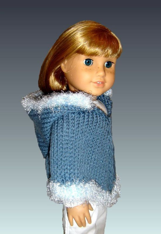 Doll Poncho Pattern. Knitting, Fits American Girl and 18 inch Doll. PDF 015 - product images  of